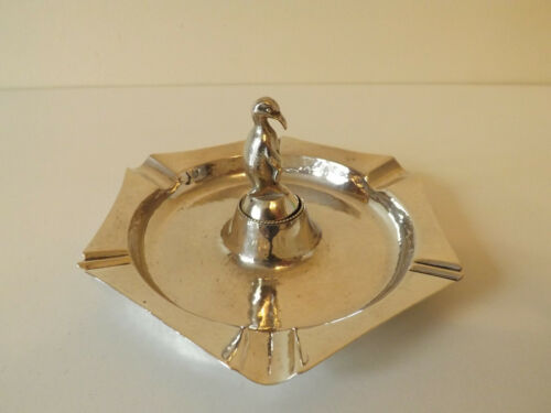 1930s Roelof Citroen Dutch Hammered Silver Ashtray With Penguin Tamper/Stubber .
