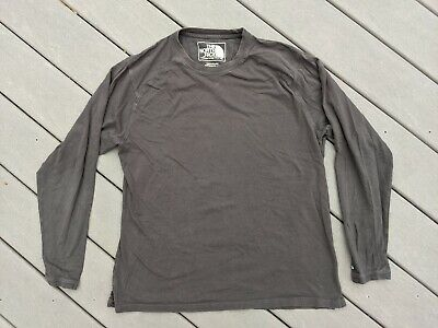 Mens The North Face Vintage Brown Gray Long Sleeve T-Shirt Sz L Large