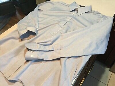 Vtg 90s Hathaway Dress Shirt Supima Pinpoint Oxford 16 35 Straight Collar -