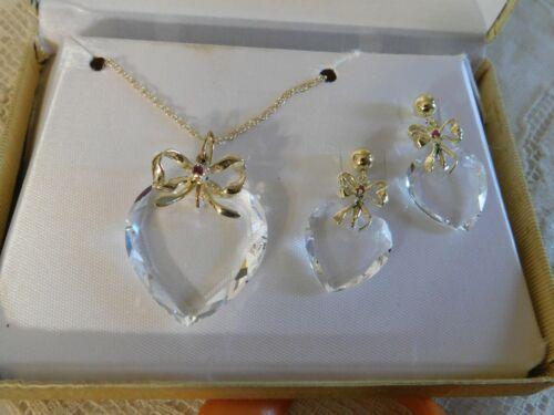 Clear Cut Crystal Garnet Heart Pendant Necklace and Earrings 12KT GF Set