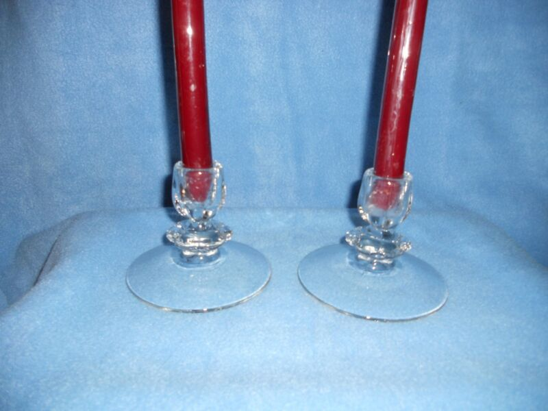 "2 Vintage Duncan Miller ""Canterberry"" Crystal  Single Candlesticks"