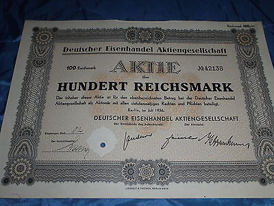 959 : dt. AKTIE / Wertpapier , Deutscher Eisenhandel , Berlin , Juli 1936 , 8922