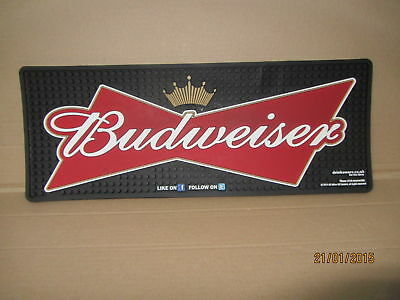 BUDWEISER THICK RUBBER HEAVY DUTY BAR RUNNER - NEW / 45cm x 18cm  pub home bar