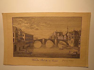 Wilhelms Brücke in Kassel - Stammbuchblatt um 1830 / Alter Druck / Wiederhold