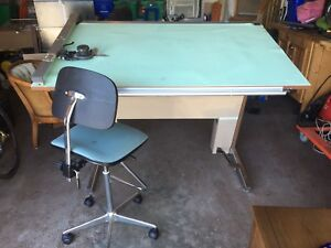 Drafting table and chair. Fully adjustable.