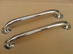 A pair of stainless steel 300mm marine grade 316 boat grab rails/handles 22mm