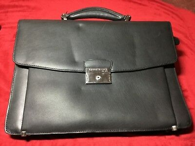 Black Designer Kenneth Cole New York Briefcase With Tan Suede Lined Interior