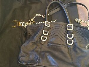 Juicy couture black leather handbag with gold accents. Pearce Woden Valley Preview