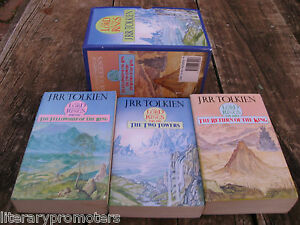 LORD-OF-THE-RINGS-BOX-SET-3-J-R-TOLKIEN-Unwin-Vintage-1989