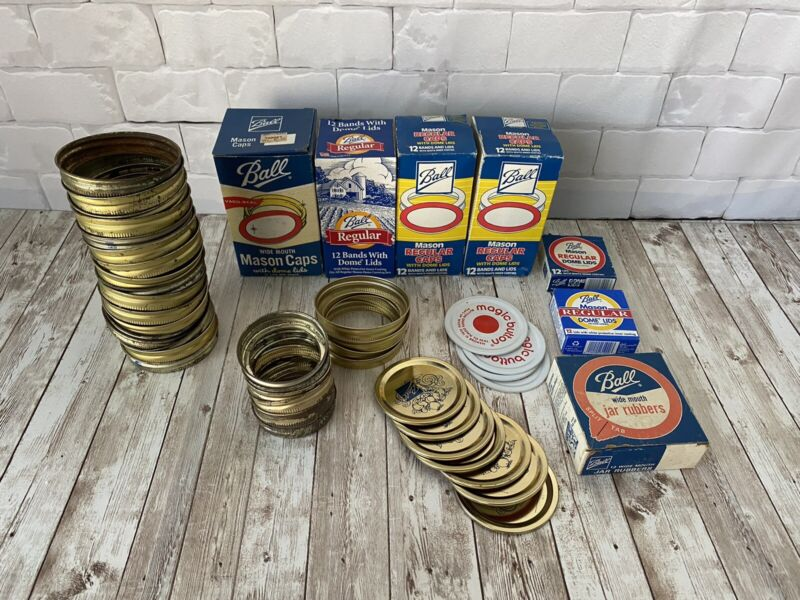 Vtg Lot Ball Canning Supplies Wide Mouth/Regular Caps Dome Lids Rubbers MANY NEW