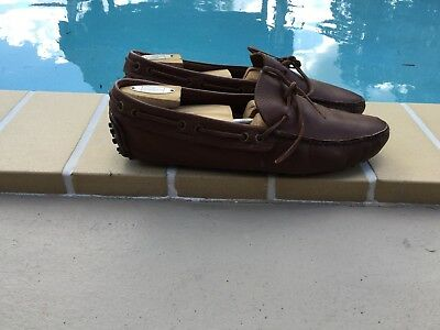 THE ORIGINAL CAR SHOE by PRADA BROWN LEATHER LOAFERS SHOES Sz 7.5M MADE IN ITALY