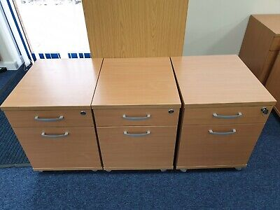 BARGAIN - VGC - Light oak office, heavy weight, pedestal 2 drawer standard size