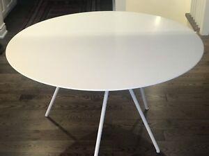 Beautiful round white kitchen table
