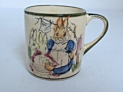 Antique Child's Ceramic Cup Bunnies and Rabbits