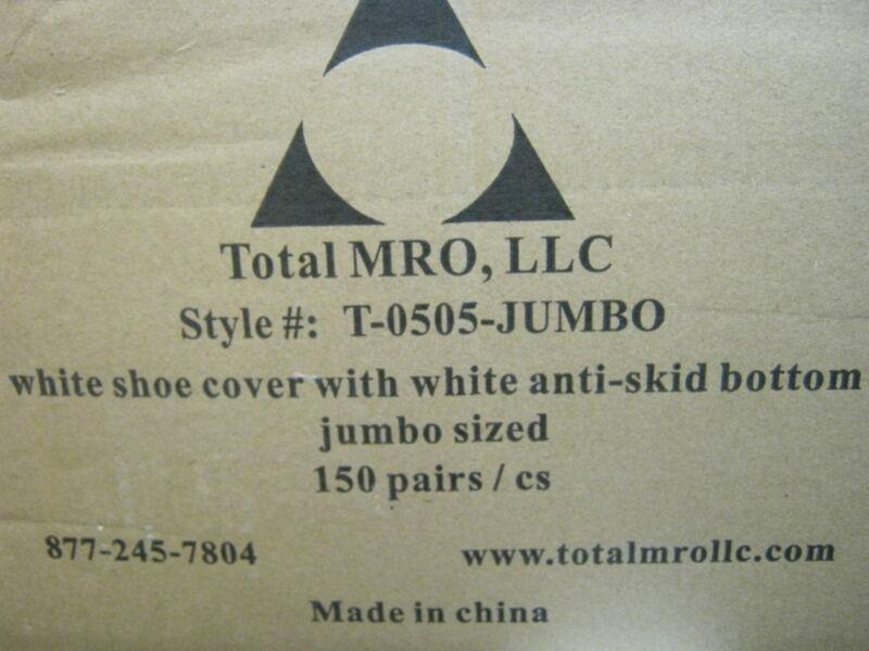 TOTAL MRO T-0505-JUMBO ANTI-SKID WHITE SHOE COVER JUMBO SIZED CASE OF 150 PAIRS