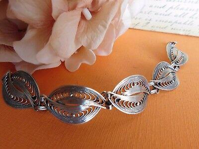 Vintage Sterling Silver Filigree link oval Panel Deco link Bracelet signed BEAU ()
