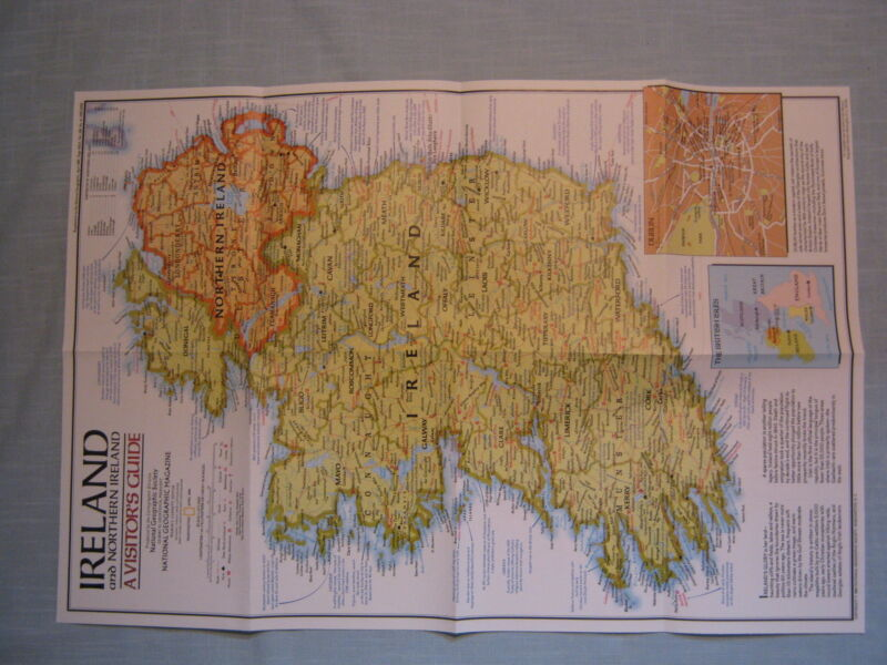 IRELAND AND NORTHERN IRELAND MAP+ HISTORIC IRELAND National Geographic 1981 MINT