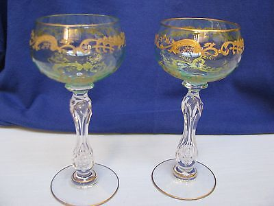 2 ST LOUIS Micado French Crystal Wine Hocks Green Gold Etched w Air Bubble Stems