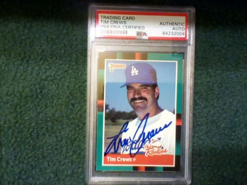 Tim Crews PSA Authenticated Hand Signed 1988 Donruss The Rookies Card Dodgers