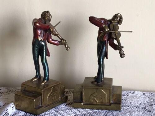 "Pair Vintage Bookends  Armour Bronze Violinist Musician enamel bronze 7"""