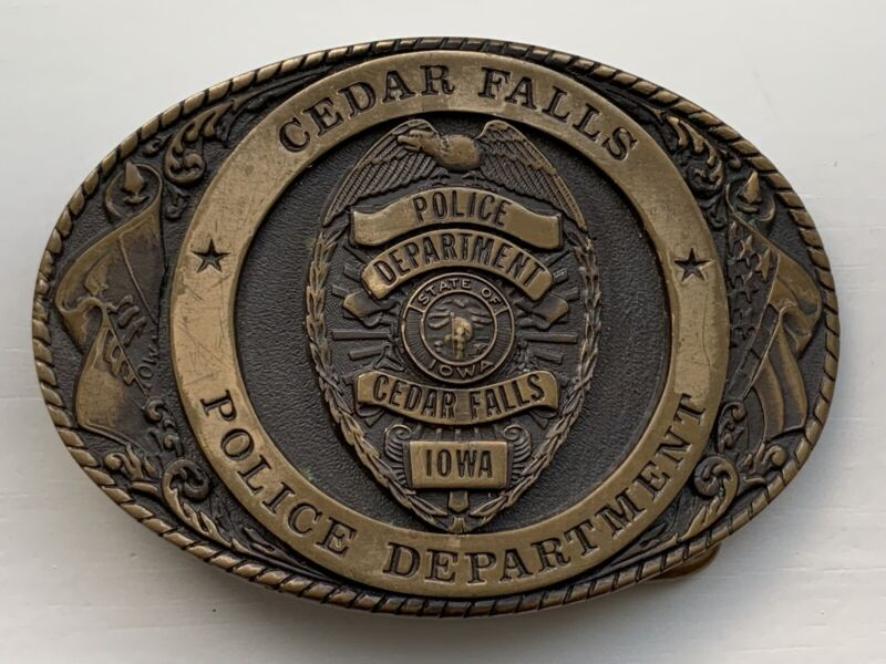 Cedar Falls Iowa Police Department Belt Buckle Chief Law Enforcement Cop Officer