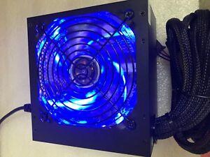 BLUE 650W 650 Watt 600W ATX Power Supply PSU PCI-E SATA 450W 500W 550W LED++ NEW