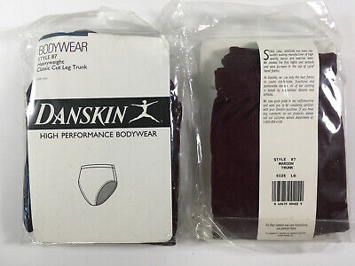 Danskin Women's Bodywear Bop Briefs Nylon Performance Activewear Lg Maroon NIP