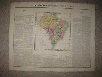 HUGE FOLIO SIZE IMPORTANT ANTIQUE 1825 BRAZIL SOUTH AMERICA CARY & LEA MAP RARE
