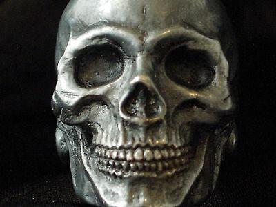 Extra large GOLIATH sterling silver skull ring masonic biker handmade