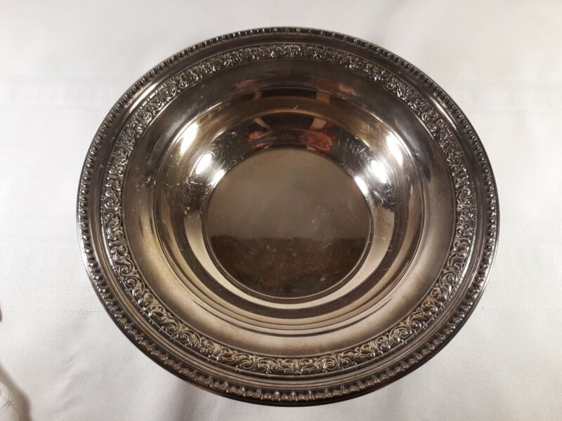 """REED & BARTON 1201 SILVERPLATE Epns 10"""" SERVING BOWL ORNATE ANTIQUE SILVER"""