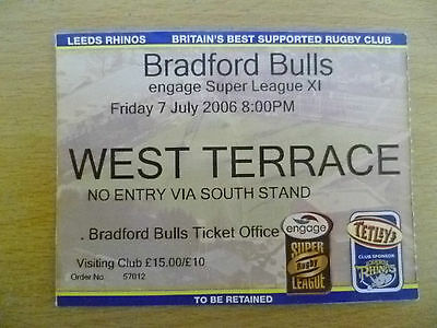 Rugby Match Ticket- 2006 Engage Super League XI- LEEDS RHINOS- BRADFORD BULLS