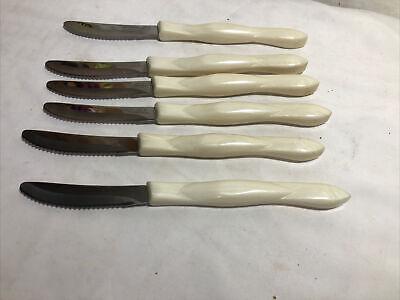 Set of 6 Cutco Steak/Table Knife 1759 Pearl (White) Handle Forever Guaranteed.