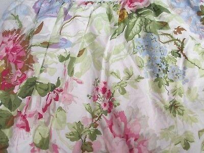 - RARE Ralph Lauren POND VIEW White Pink Green Floral Dust Ruffle Bedskirt - Queen