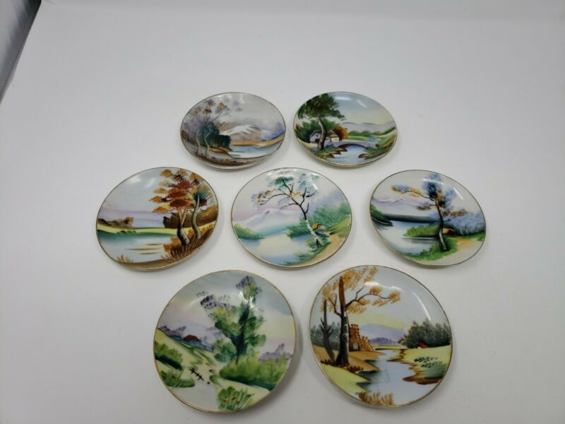 "Set of 7 Vintage Mid Century Ucagco Hand Painted Plates 4"" D Japan Scenery Decor"