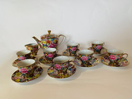 VINTAGE HANDMADE FIFTH AVENUE COLLECTION FLORAL CHINTZ TEA SET, 8 TEA CUPS AND S