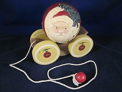 BRIERE Folk Art Pull Toy 1988 SIGNED Old Fashioned Santa Ball & Cart # 650/1000