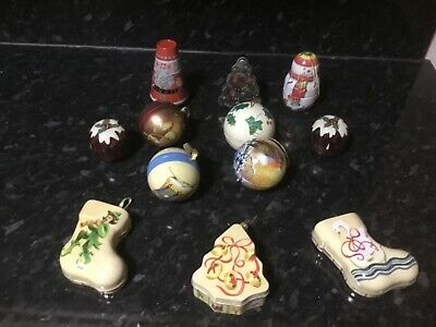 Vintage MINIATURE TIN fillable Christmas Tree decorations baubles X 12 Bundle ()