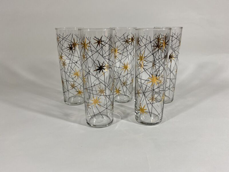 5 Galaxy Gold Starburst Libbey Party Time Tumbler Glasses Mid Century Modern