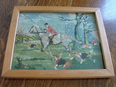 Vintage oak framed needlepoint embroidered tapestry hunting scene 31cm x 25cm
