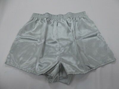 Medium Grey Satin (Silver Grey  Crepe  Poly Satin Boxer Shorts  Medium With   Free Postage )