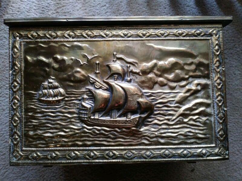Antique Repousse Embossed Brass Clad Coal Box Sailing Ship Motif