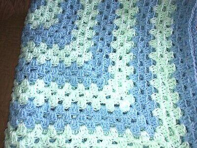 BEAUTIFUL NEW HANDMADE CROCHET BABY BLANKET/AFGHAN - PASTEL GREEN & PASTEL BLUE