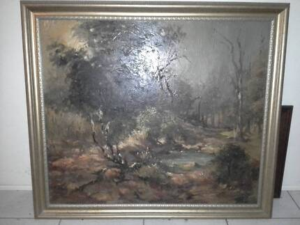 David Fowler Painting and Frame - Tree/Pond Scene