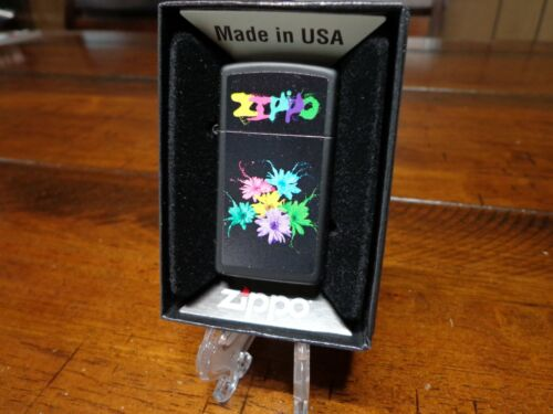 ZIPPO FLOWERS SLIM ZIPPO LIGHTER MINT IN BOX