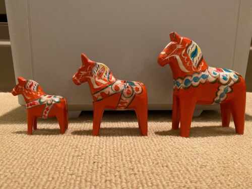3 Akta Dalahemslojd Red Dala Horses Nils Olsson Handcrafted & Painted Sweden