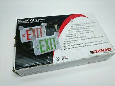 Exitronix Thermoplastic Led Combo Lighted Exit Sign Vledc-51 - 1 Or 2 Sided New