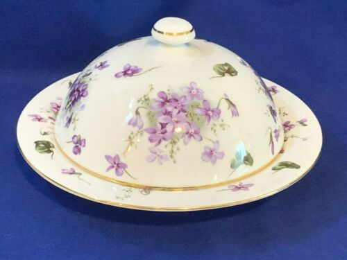 Rare Hammersley English bone china Victorian Violets pattern Muffin dish