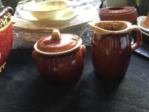 Vintage HULL Oven Proof Creamer & Sugar Bowl Set ~ Brown Drip Glaze ~ USA