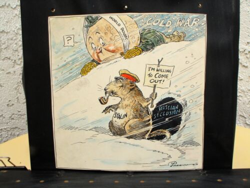 Joe Parrish hand colored proof from Chicago Tribune political cartoon 1949