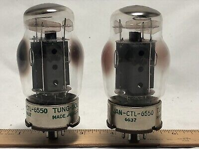 vintage 1960s pair Tung-Sol JAN-CTL-6550 Power Tubes